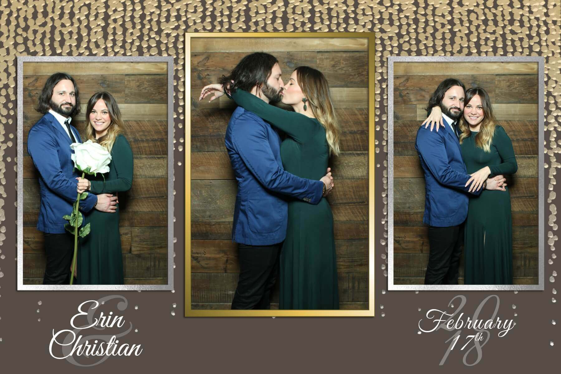 Lovers photo booth kiss