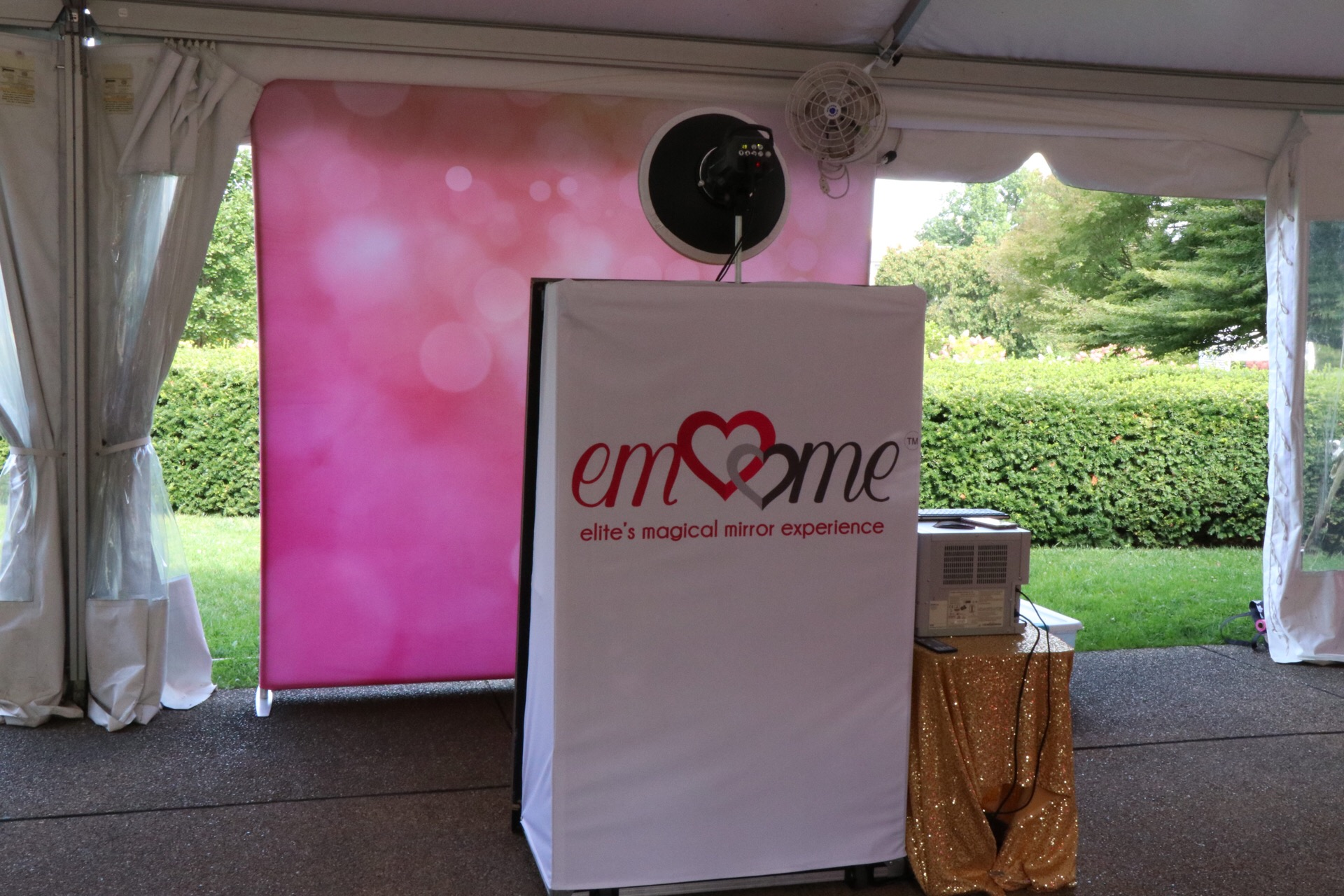 Pink Ombre Backdrop & White Branded  Cover